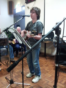 John W. taking the lead on his new 8 string uke.